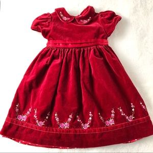 Red velveteen embroidered dress Christmas 4T